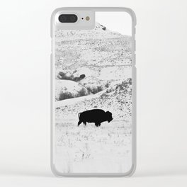 Black and White Bison Clear iPhone Case