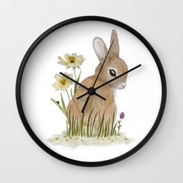 Rabbit Among the Flowers Wall Clock