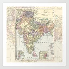 Vintage Map of India Art Print