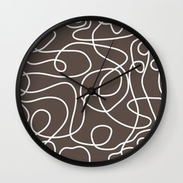 Doodle Line Art | White Lines on Brown Wall Clock