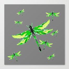 EMERALD GREEN  SWAMP DRAGONFLIES GREY ART Canvas Print