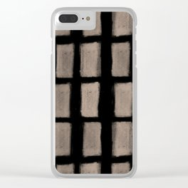 Brush Strokes Vertical Lines Nude on Black Clear iPhone Case