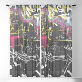 New York Traces - Urban Graffiti Sheer Curtain