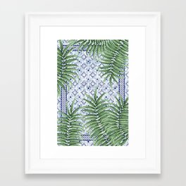 Moroccan tiles and palm leaves Framed Art Print