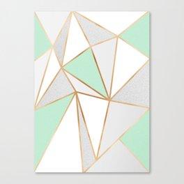 Mint Green, Grey & Gold Geo Canvas Print