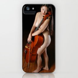 0199-JC Nude Cellist with Her Cello and Bow Naked Young Woman Musician Art Sexy Erotic Sweet Sensual iPhone Case