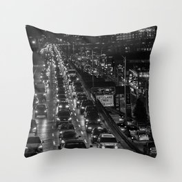 Seattle Viaduct Night Drive Throw Pillow