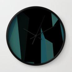 teal and black abstract Wall Clock