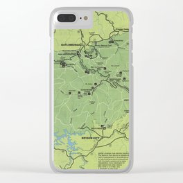 Smoky Mountains National Park Map (1980) Clear iPhone Case
