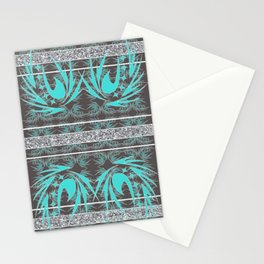 Teal, Grey and Silver Banded Textile Stationery Cards