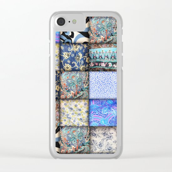Faux Patchwork Quilting - Blues Clear iPhone Case