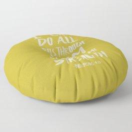 Philippians 4: 13 x Mustard Floor Pillow