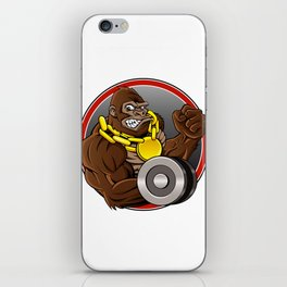 Angry gorilla with dumbbell  iPhone Skin