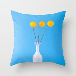 Abstract still life with a vase and orange balls on a blue background Throw Pillow