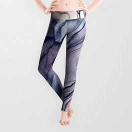 Slate Purple and Sparkle Flowing Abstract Leggings