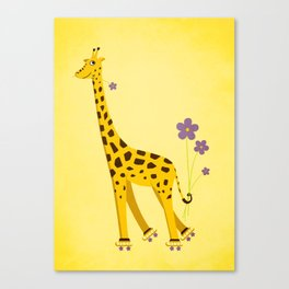 Funny Roller Skating Giraffe In Yellow Canvas Print