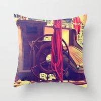 boat Throw Pillows featuring boat by gzm_guvenc
