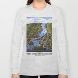 MYSTIC RIVER CONNECTICUT city old map Father Day art print Long Sleeve T-shirt
