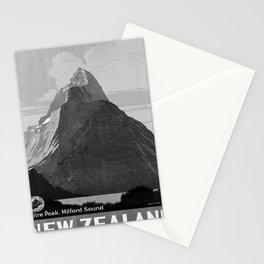 retro monochrome New Zealand retro poster Stationery Cards