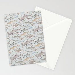 Watercolour shark pattern on pale blue Stationery Cards