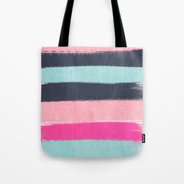Miri - abstract stripes painterly brushstrokes minimal office dorm or college girly art decor Tote Bag