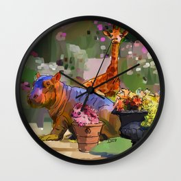 Animals in the Garden: The giraffe, hippo, and hedgehog Wall Clock