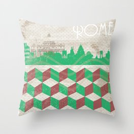 Rome Vintage Stamp Throw Pillow