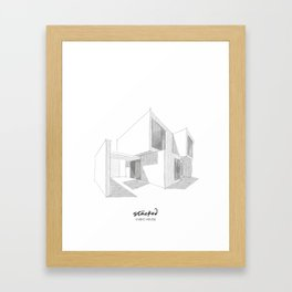 Cubic House No.1 - minimalist architecture - sketch art Framed Art Print