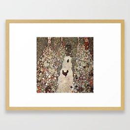 Gustav Klimt Garden With Roosters Framed Art Print