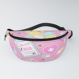 Yami Kawaii Creepy Cute Bears on Pink Fanny Pack
