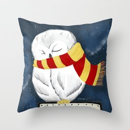 Sleepy Hedwig Throw Pillow