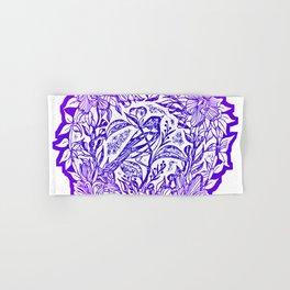 Songbird In Magnolia Wreath, Purple Linocut Hand & Bath Towel