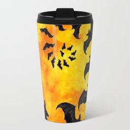 HALLOWEEN BAT INFESTED HAUNTED MOON ART DESIGN Travel Mug