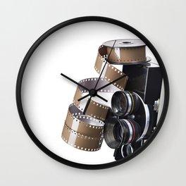 Retro movie camera and reel film Wall Clock