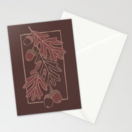 Autumn oak leaves and acorns pattern  Stationery Cards