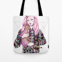 kris tate Tote Bags featuring EMBRACE by Kris Tate and Ola Liola  by Ola Liola
