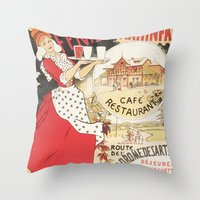 cafe Throw Pillows featuring Cafe by Artzology