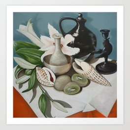 Kiwi fruit & Lillies Art Print