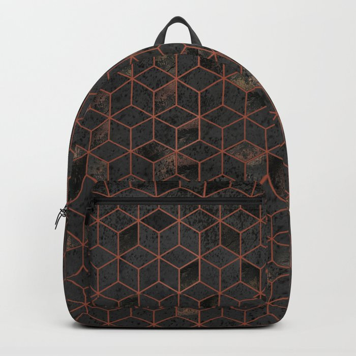 Copper Gold and Black Hexagons Geometric Pattern Backpack by ... 1488a8655a0d9
