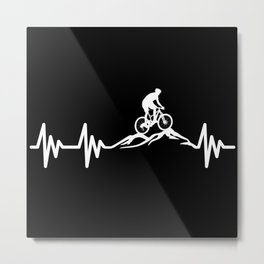Mountain Bike MTB Heartbeat Metal Print