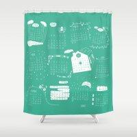 calendar Shower Curtains featuring Calendar 2015 by Ananá