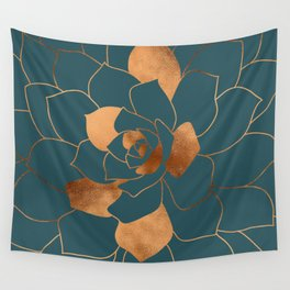 Abstract Metal Copper Blossom on Emerald Wall Tapestry