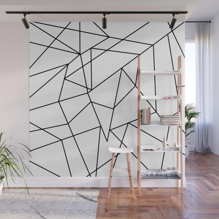 Simple Modern Black and White Geometric Pattern Wall Mural ...