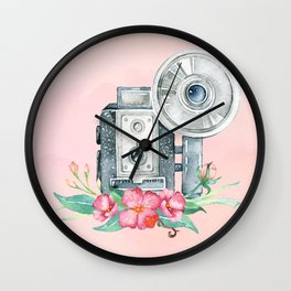 Vintage Flash Camera - Old Paparazzi in Watercolor Wall Clock