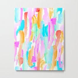 Abstract Brushstrokes - Brights Metal Print