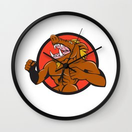 Wild Boar Man Roaring Pumping Chest Circle Cartoon Wall Clock
