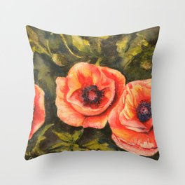 Poppies Sunlit Blooms Watercolor Throw Pillow