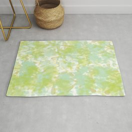 Golden Green Watercolor Abstract Rug