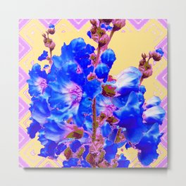 Blue & Purple Holly Hocks Pattern Yellow Floral Art Metal Print
