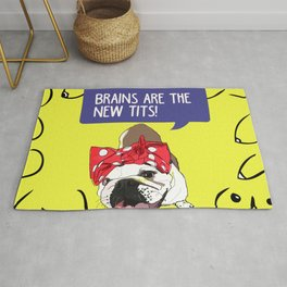 Brains are the new tits! Rosie the Bulldog Rug